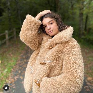 Mango faux shearling coat bloggers favorite